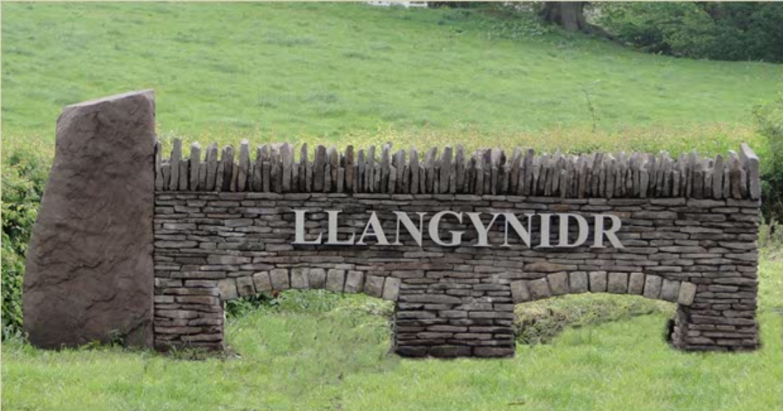 Llangynidr wall and link to local history society
